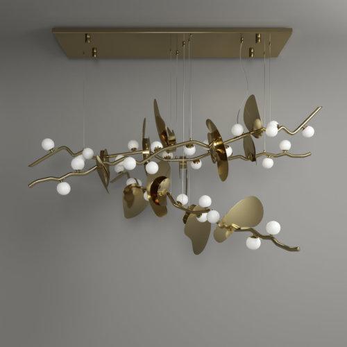 Almond suspension lamp