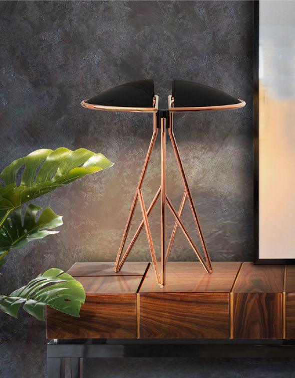 Beetle Table Lamp and Proportion Console by Malabar