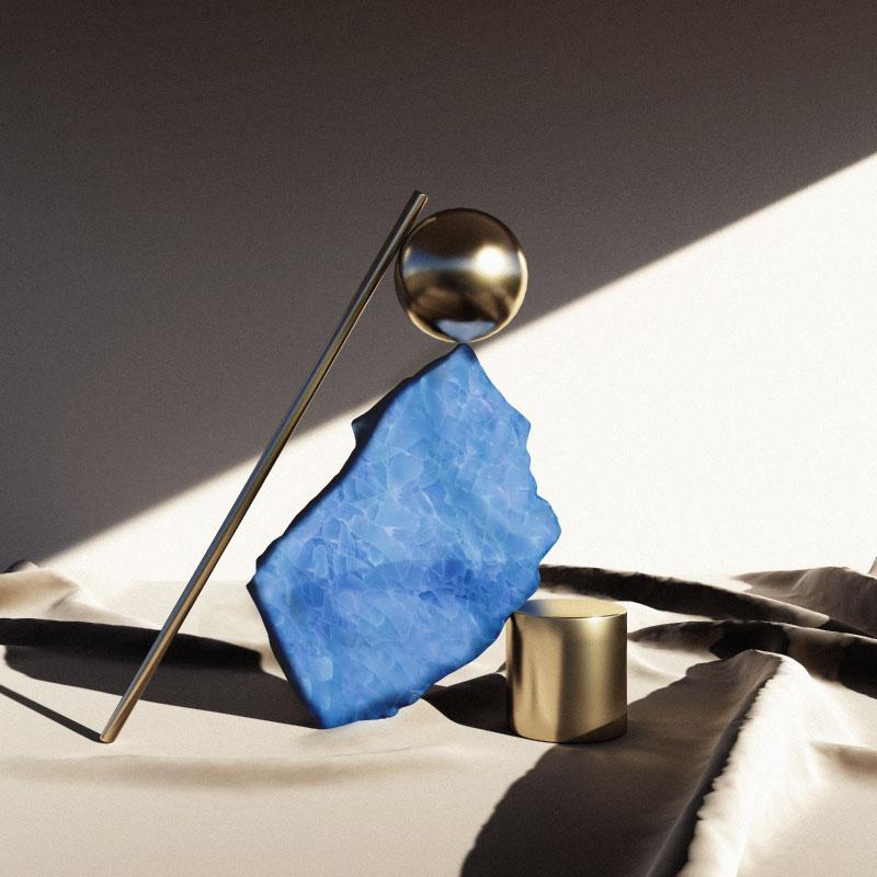 Artisanal blue glass