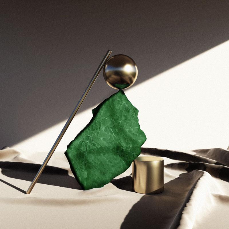 Artisanal green glass