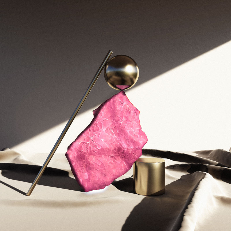 Artisanal pink glass