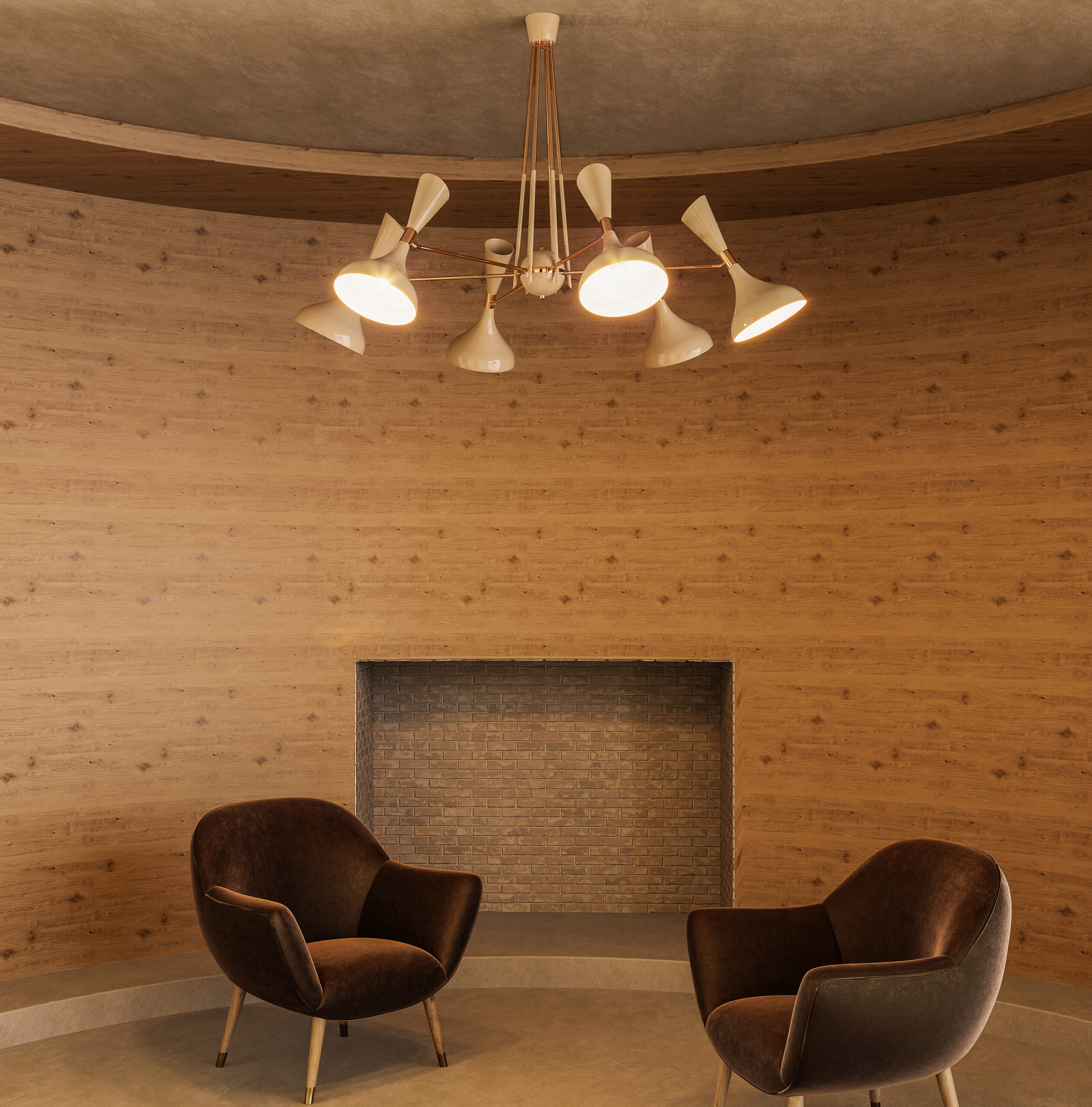 Hanging lamps - helsinki suspension lamp in a wooden interior with velvet armchairws