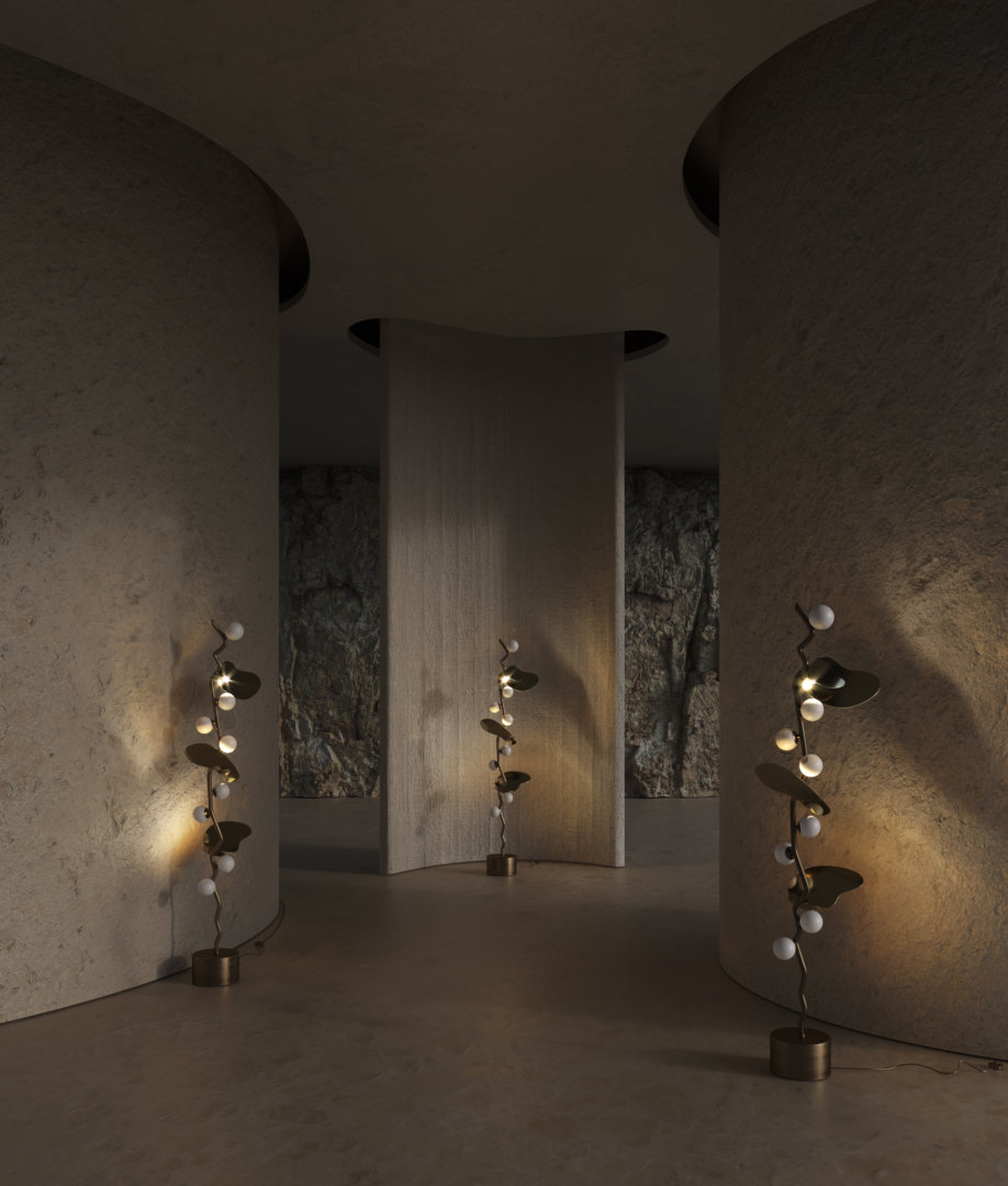 Iconic lights almond floor lamp