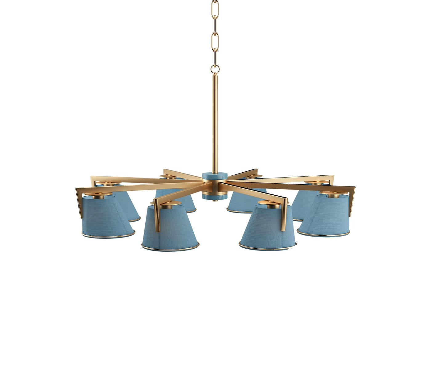 Santos Suspension Lamp with blue shades