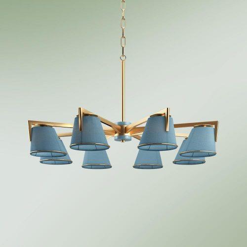 Santos Suspension Lamp with blue shades
