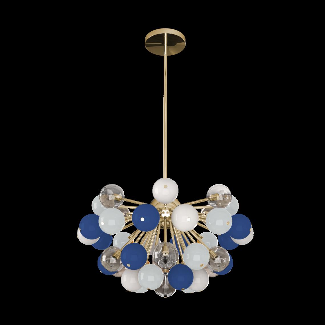 Berries suspension lamp featuring classic blue