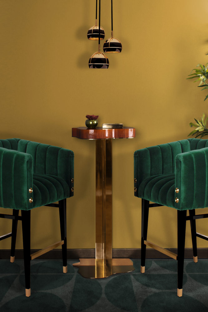 Black Widow Pendant Lamp III with Marina bar table designed by Malabar and Inglewood Bar Chair designed by Porus Studio