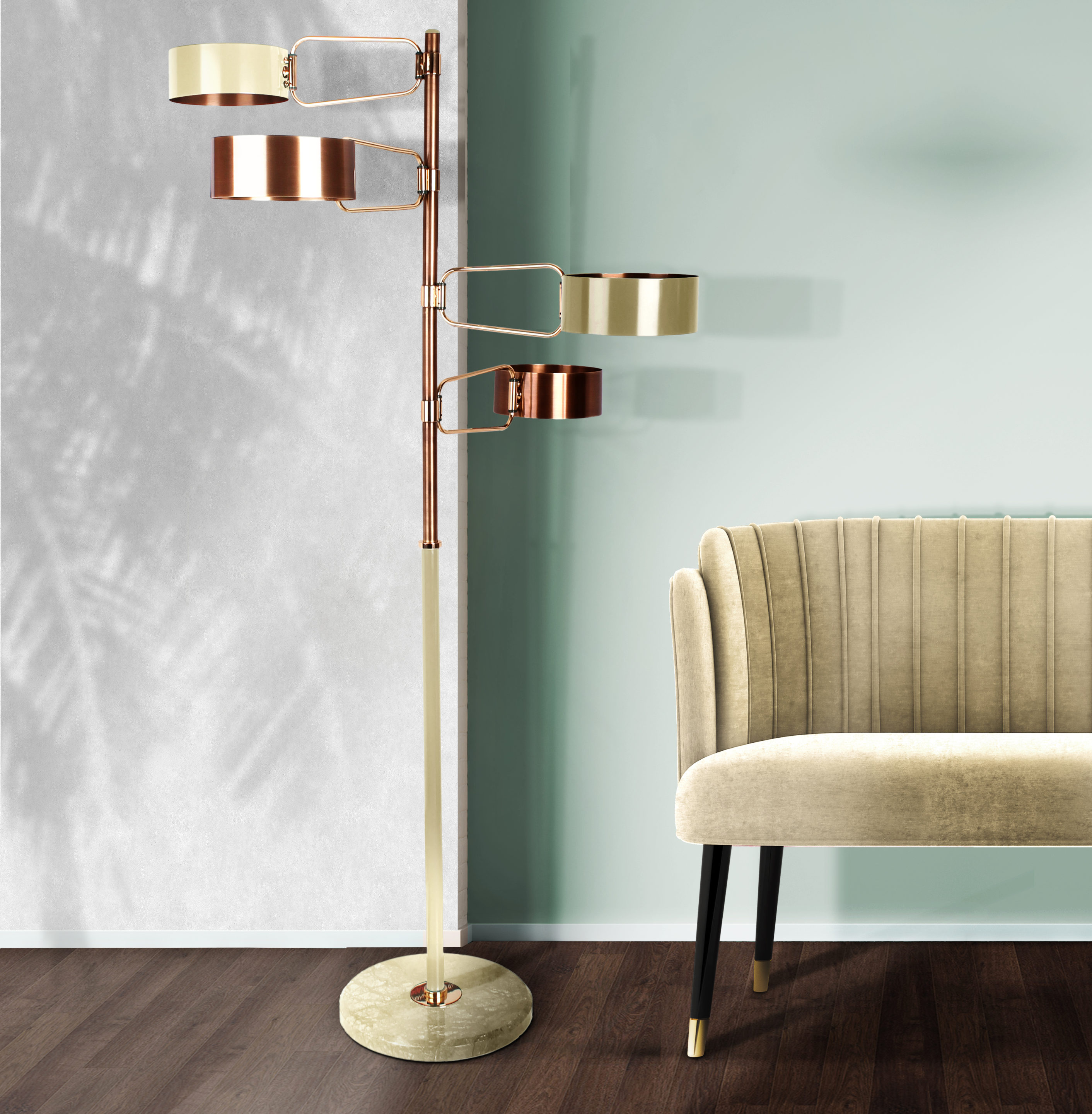 Brompton Floor Lamp featuring Brass and Marble