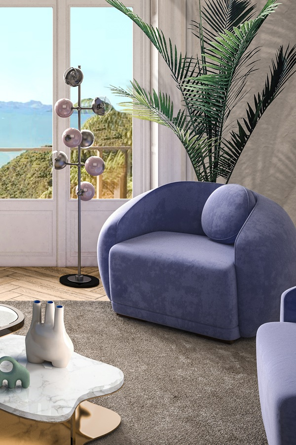 Cherries Floor Lamp and Peggy Armchair designed by Ottiu