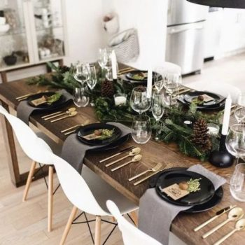 black dinnerware christmas decor
