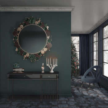 wanderlust mirror, vegas console and caron dining chair for christmas decor